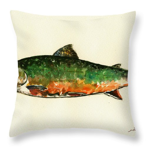 Brook Trout Throw Pillow featuring the painting Brook trout by Juan Bosco
