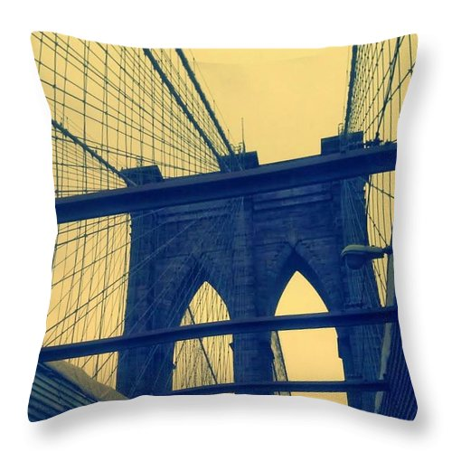 Mother's Day Throw Pillow featuring the photograph New York City's Famous Brooklyn Bridge by Paulo Guimaraes