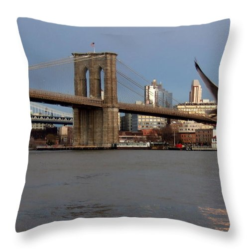 Brooklyn Bridge Throw Pillow featuring the photograph Brooklyn Bridge And Bird In Flight by Anita Burgermeister