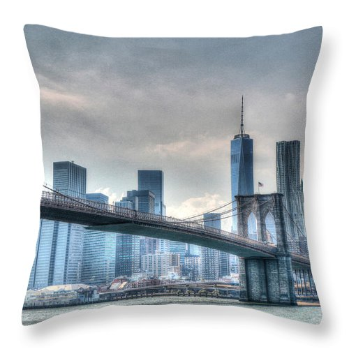 Brooklyn Throw Pillow featuring the photograph Brooklyn Bridge And The Lower Manhattan Financial District by Allen Beatty