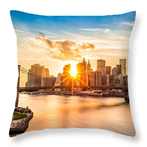 America Throw Pillow featuring the photograph Brooklyn Bridge and the Lower Manhattan skyline at sunset by Mihai Andritoiu