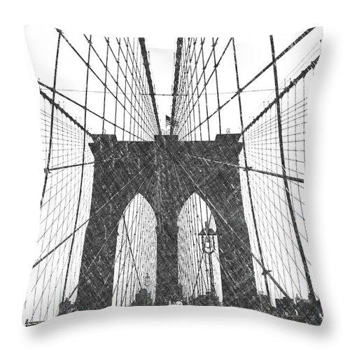Brooklyn Throw Pillow featuring the photograph Brooklyn Bridge by Dick Goodman