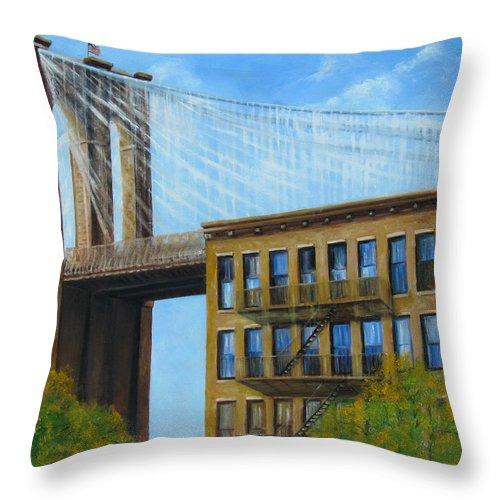 Brownstones Throw Pillow featuring the painting Brooklyn Bridge by Leonardo Ruggieri