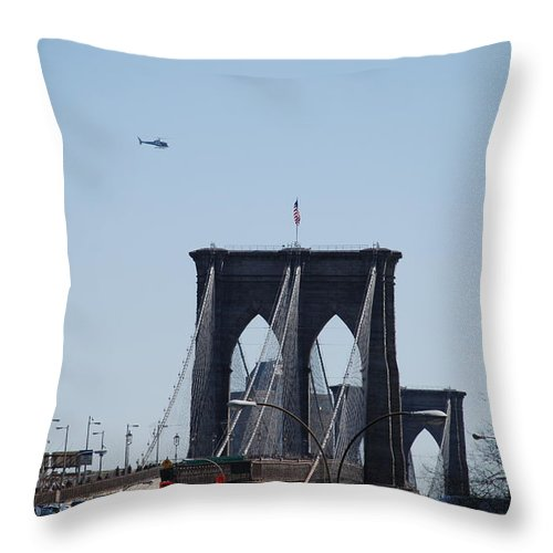 Architecture Throw Pillow featuring the photograph Brooklyn Bridge by Rob Hans