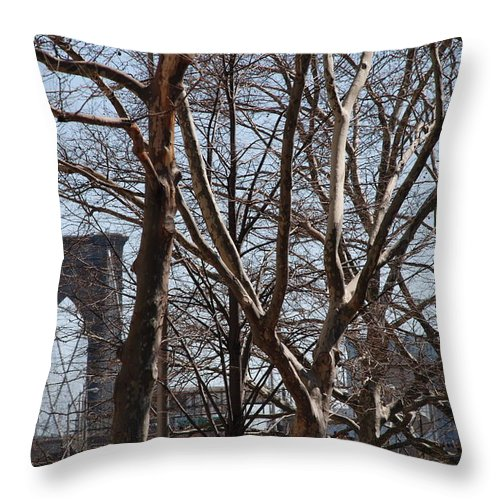 Architecture Throw Pillow featuring the photograph Brooklyn Bridge Thru The Trees by Rob Hans
