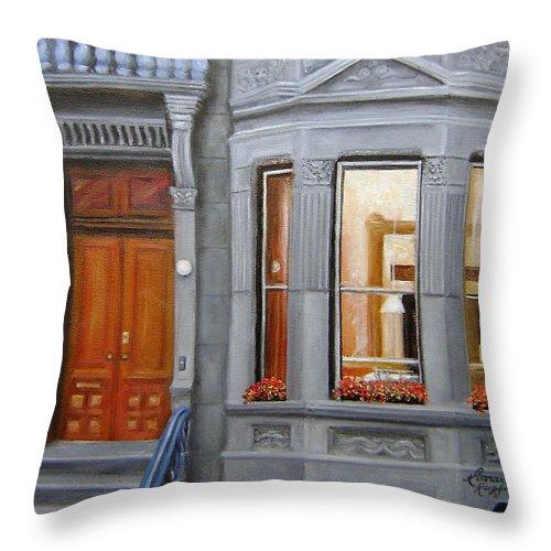 Ny City Throw Pillow featuring the painting Brooklyn Brownstone Window by Leonardo Ruggieri