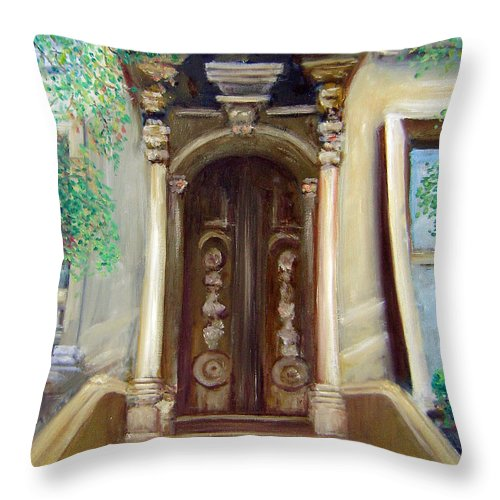 Ny City Throw Pillow featuring the painting Brooklyn Doorway by Leonardo Ruggieri