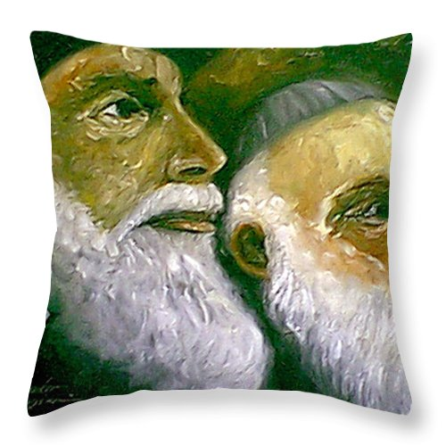 People Throw Pillow featuring the painting Brooklyn Rabbi by Leonardo Ruggieri