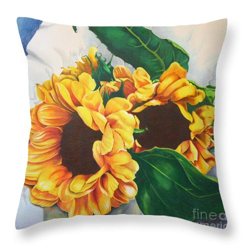 Sunflowers Throw Pillow featuring the painting Brooklyn Sun by Angela Armano