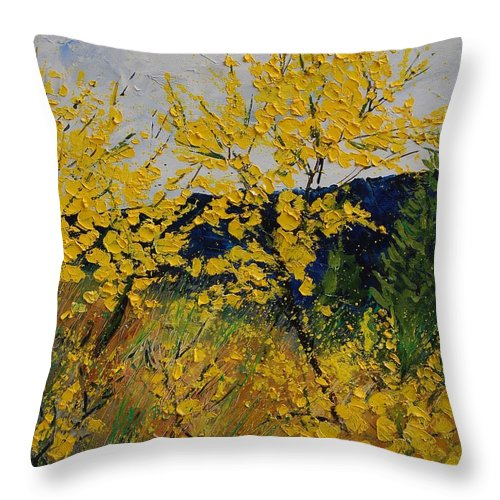 Flowers Throw Pillow featuring the painting Brooms by Pol Ledent