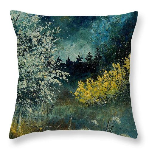 Spring Throw Pillow featuring the painting Brooms Shrubs by Pol Ledent
