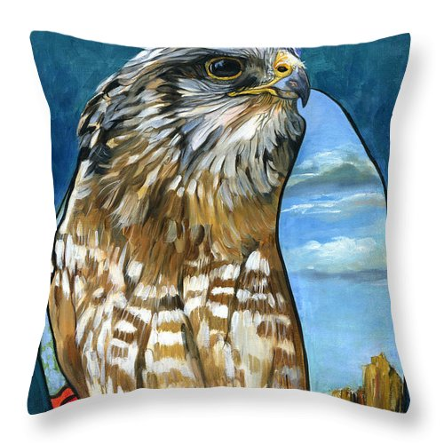 Hawk Throw Pillow featuring the painting Brother Hawk by J W Baker