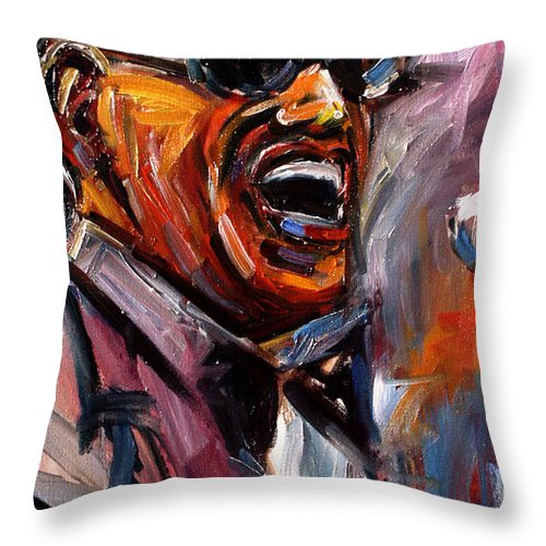 Jazz Art Throw Pillow featuring the painting Brother Ray by Debra Hurd
