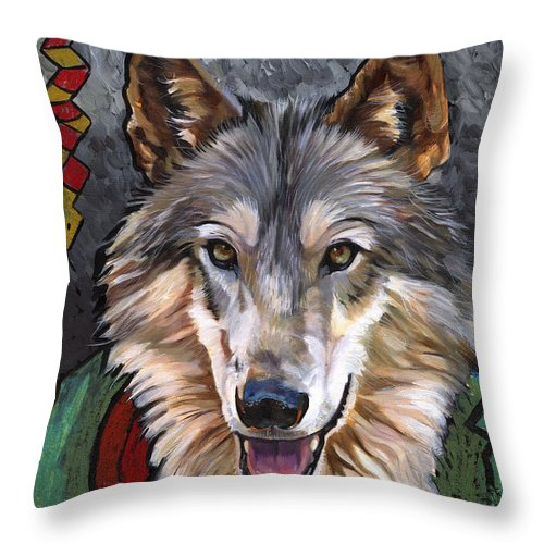 Wolf Throw Pillow featuring the painting Brother Wolf by J W Baker