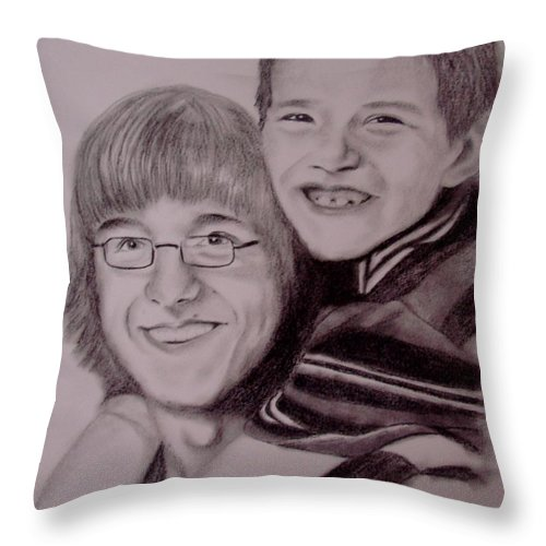 Portrait Throw Pillow featuring the drawing Brothers For Life by Glory Fraulein Wolfe