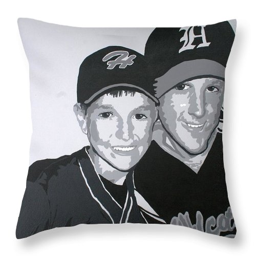 Wildcats Throw Pillow featuring the painting Brothers by Melissa Wiater Chaney