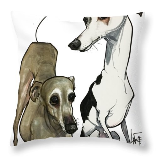Pet Portrait Throw Pillow featuring the drawing Brown 7-1512 by John LaFree