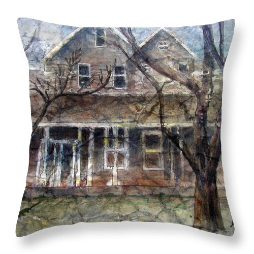 House Throw Pillow featuring the mixed media Brown Batik House by Arline Wagner