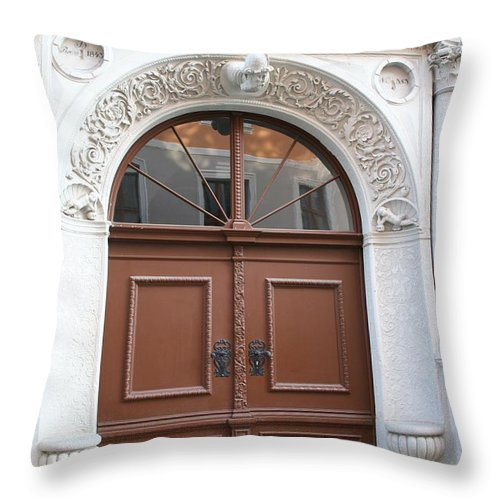 Door Throw Pillow featuring the photograph Brown Door by Christiane Schulze Art And Photography
