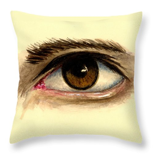 Eye Throw Pillow featuring the painting Brown Eye by Michael Vigliotti