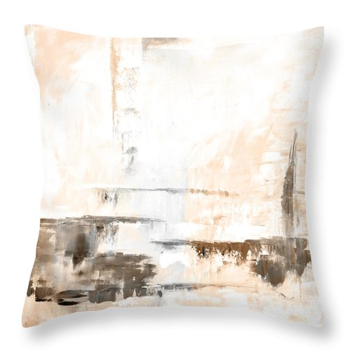 Brown Throw Pillow featuring the painting Brown Gray Abstract 12m4 by Voros Edit
