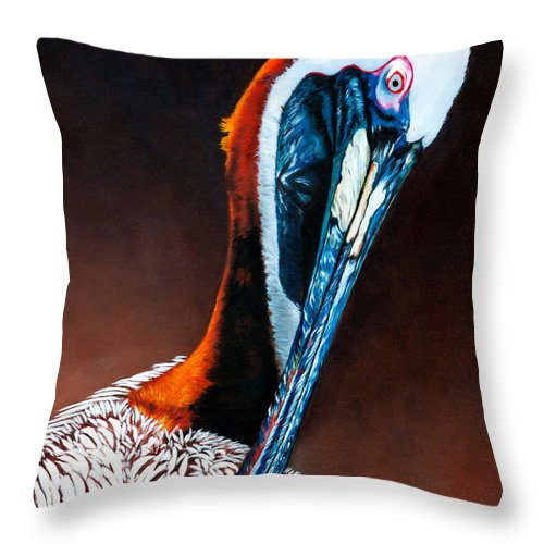 Brown Throw Pillow featuring the painting Brown Pelican by Donna Proctor