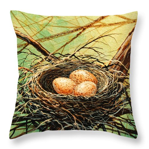 Wildlife Throw Pillow featuring the painting Brown Speckled Eggs by Frank Wilson