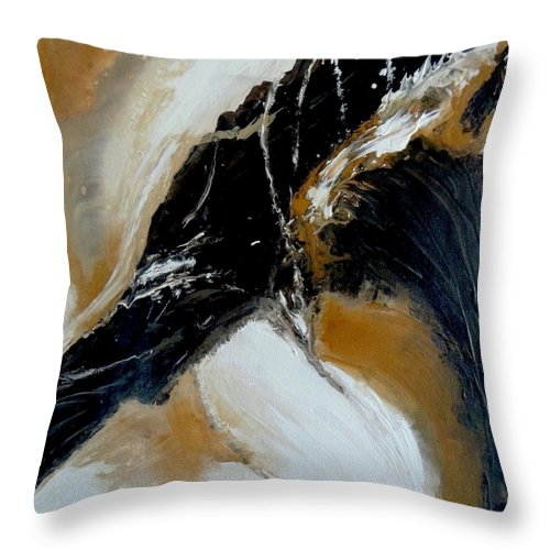 Non Objective Throw Pillow featuring the painting Brown Sugar by Judith Cahill