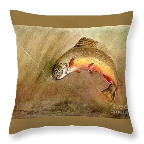 Trout Throw Pillow featuring the painting Brown Trout by Mary Tuomi