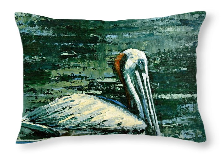 Acrylic Throw Pillow featuring the painting Brownie Swimming In Green Water by Suzanne McKee