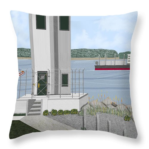 Lighthouse Throw Pillow featuring the painting Browns Point Lighthouse On Commencement Bay by Anne Norskog
