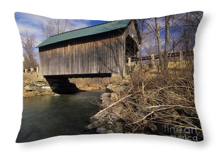 Bridge Throw Pillow featuring the photograph Brownsville Covered Bridge - Brownsville Vermont by Erin Paul Donovan