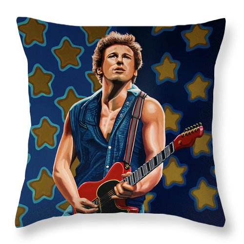 Bruce Springsteen Throw Pillow featuring the painting Bruce Springsteen The Boss Painting by Paul Meijering