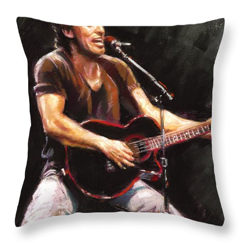 Bruce Springsteen Throw Pillow featuring the pastel Bruce Springsteen by Ylli Haruni