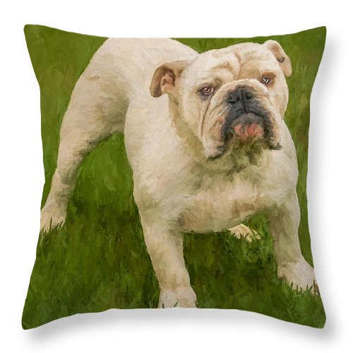 Dog Throw Pillow featuring the painting Bruce The Bulldog by David Wagner