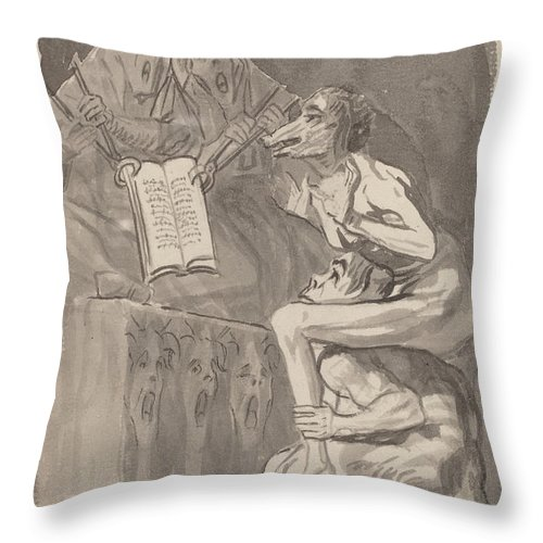 Throw Pillow featuring the drawing Brujas ? Volar (witches Preparing To Fly) [verso] by Francisco De Goya