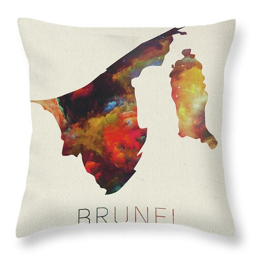 Brunei Throw Pillow featuring the mixed media Brunei Watercolor Map by Design Turnpike
