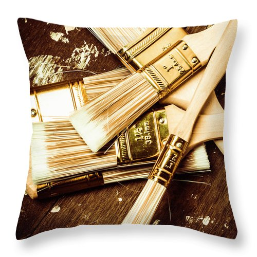 Paint Throw Pillow featuring the photograph Brushes Of Interior Decoration by Jorgo Photography - Wall Art Gallery