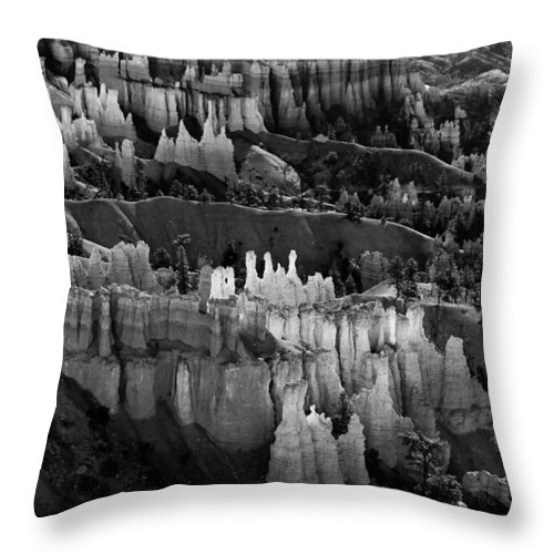 Bryce Canyon Throw Pillow featuring the photograph Bryce Canyon In Black And White by James BO Insogna