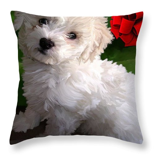Bichon Friese Throw Pillow featuring the painting Bryce by David Wagner