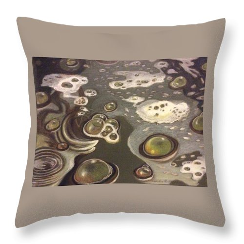 Bubbles Throw Pillow featuring the painting Bubble Boil and Trouble 1 by Art Nomad Sandra Hansen