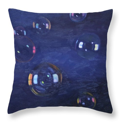 Bubbles Throw Pillow featuring the painting Bubble Study 02 by Guenevere Schwien
