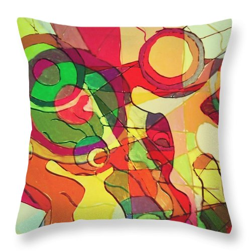 Drawing Throw Pillow featuring the digital art Bubbleclubcubed by Johanna G