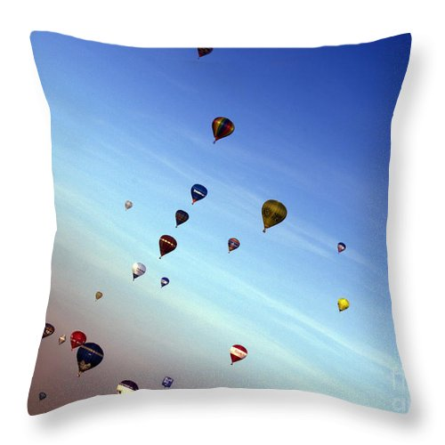 Balloon Fiesta Throw Pillow featuring the photograph Bubbles by Angel Ciesniarska