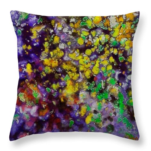 Bubbles Throw Pillow featuring the painting Bubbles by Dragica Micki Fortuna