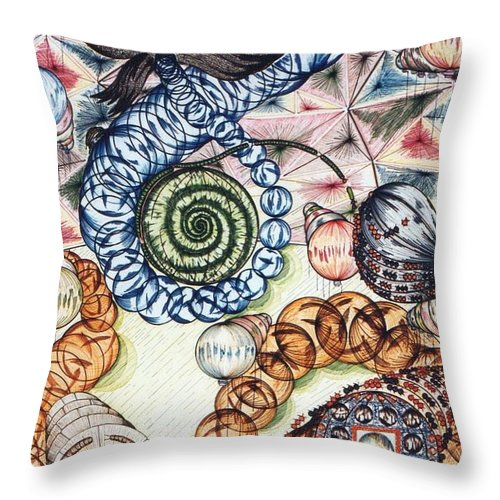 Clam Throw Pillow featuring the mixed media Bubbles Of Magic by Robert Robbins