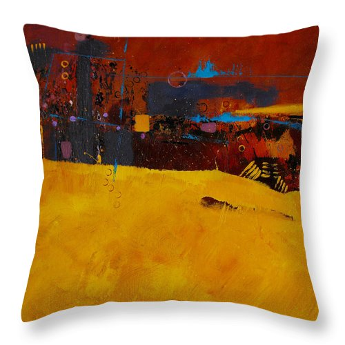 ruth Palmer Abstract Color Geometric Circles Irregular Lines Orange Coral Pink Blue Yellow Throw Pillow featuring the painting Bubbles Rising by Ruth Palmer