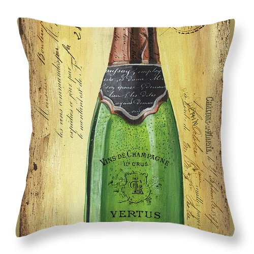 Alcohol Throw Pillow featuring the painting Bubbly Champagne 2 by Debbie DeWitt