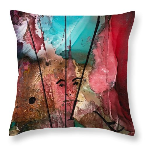 Pirate Throw Pillow featuring the mixed media Buccaneers by Susan Kubes