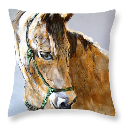 Morgan Horse Throw Pillow featuring the painting Buck Of The Morgan Horse Ranch Point Reyes National Seashore by Paul Miller